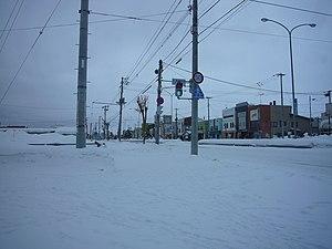 Nayoro, Hokkaido - A street in front of Nayoro Station