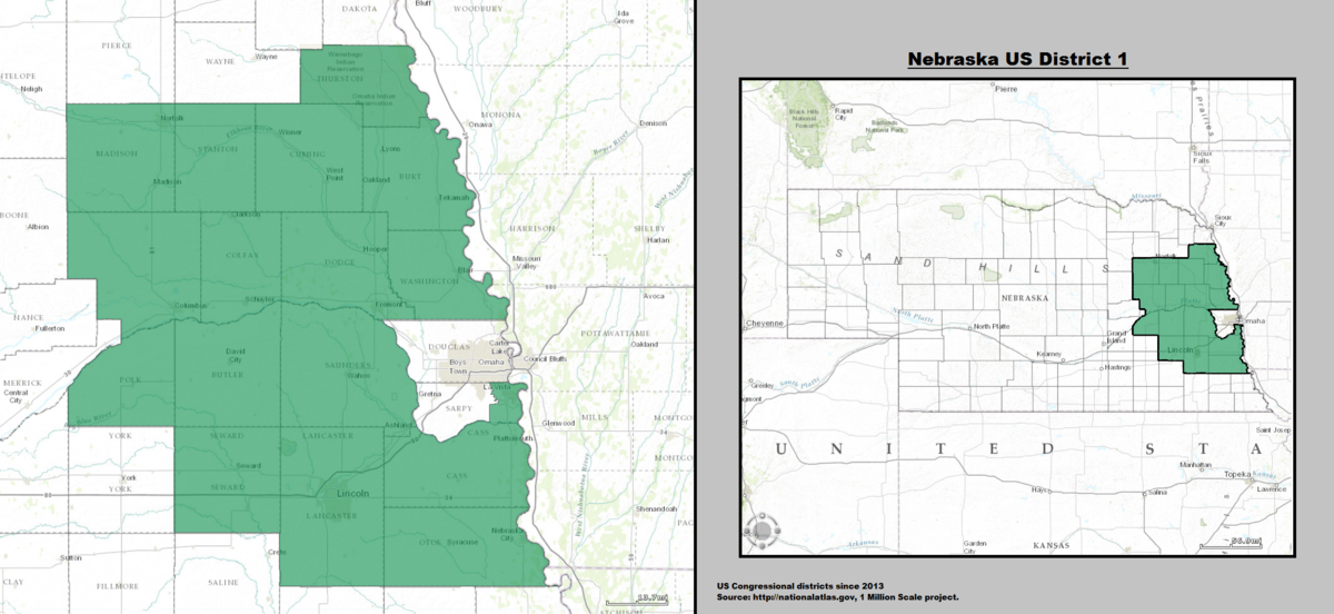 Nebraskas St Congressional District Wikipedia - Nebraska us map