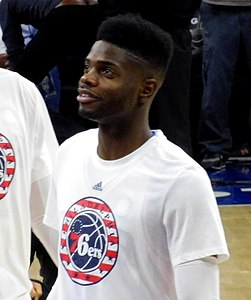 Nerlens Noel pregame with the Philadelphia 76ers in 2015.JPG