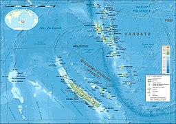 Carte bathymétrique et topographique de la Nouvelle-Calédonie et de Vanuatu, Océanie.