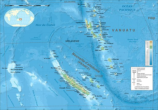 New Caledonia and Vanuatu bathymetric and topographic map-fr
