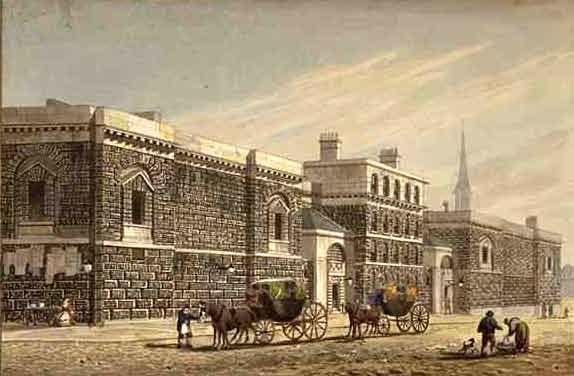 Newgate West View of Newgate by George Shepherd 1784-1862 edited