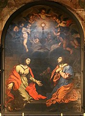 Sainte Barbe et sainte Marguerite adorant le Saint-Sacrement