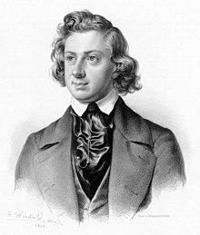 Niels Wilhelm Gade, Lithographie von Johann Georg Weinhold, 1845 (Quelle: Wikimedia)