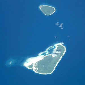 Niuatoputapu - NASA picture of Niuatoputapu, with South up and Tafahi in the foreground.