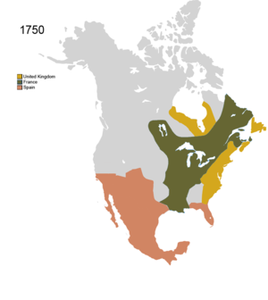 Map of North America showing French, UK, and Spanish territorial claims over Eastern seaboard of North America