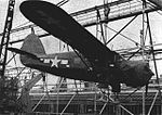 Noorduyn JA-1 Norseman with skis is loaded aboard ship at Norfolk in 1946.jpg
