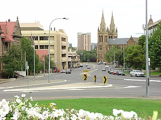 North Adelaide - North Adelaide looking south down King William Road to St Peter's Cathedral and the City