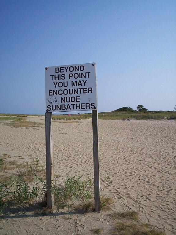 Filenude Beach Warning Sign At Gunnison Beach In Sandy -2142
