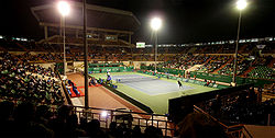 Nungambakkam SDAT Tennis Stadium floodlit match panorama.jpg
