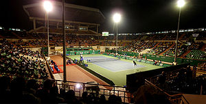 Nungambakkam SDAT Tennis Stadium floodlit match panorama