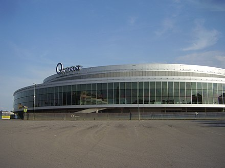 The O2 Arena was built to host the 2004 Men's World Ice Hockey Championships O2 Arena, od Ceskomoravske.jpg