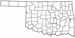 Location of Keota, Oklahoma