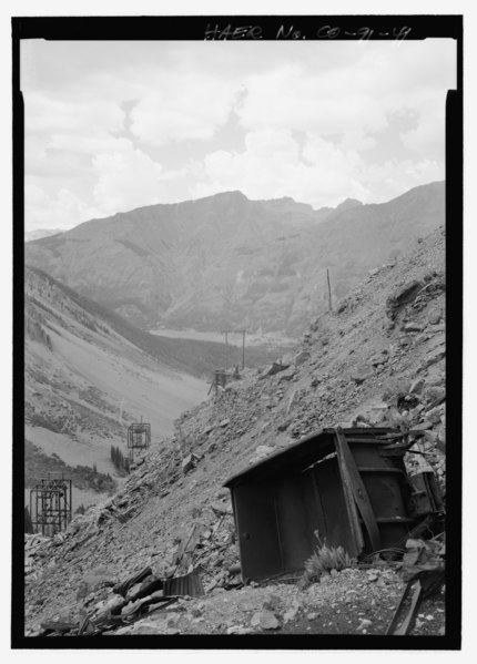 File:OVERTURNED CART NEAR SHENANDOAH-DIVES (MAYFLOWER) MINE PORTAL. - Shenandoah-Dives Mill, 135 County Road 2, Silverton, San Juan County, CO HAER CO-91-41.tif