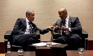 Ron Kirk - Kirk meeting with President Obama before bilateral meetings in South Korea.
