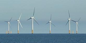 Lynn and Inner Dowsing Wind Farms - Lynn wind farm with Lincs wind farm under construction to rear (2011)