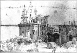Een man en een jongen bekijken de ruïnes van de kathedraal, waarvan het dak verdwenen is en er zijn nog maar een paar muren overeind.