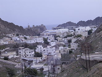 Al Jalali Fort - Old Muscat from the south, forts in the background
