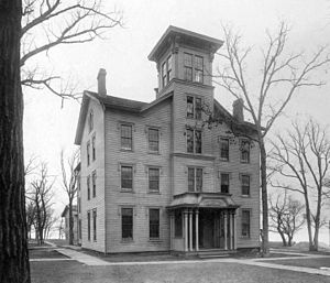 Old College (Northwestern University) - Old College in 1899, before being moved to make way for Fisk Hall.