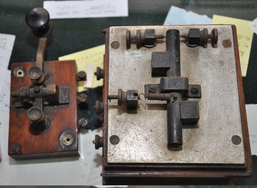 Old telegraph instruments morse key and morse sounder