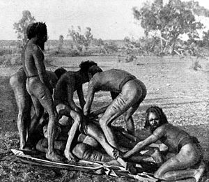 Penile subincision - Operation of Subincision, Warrumanga Tribe, Central Australia