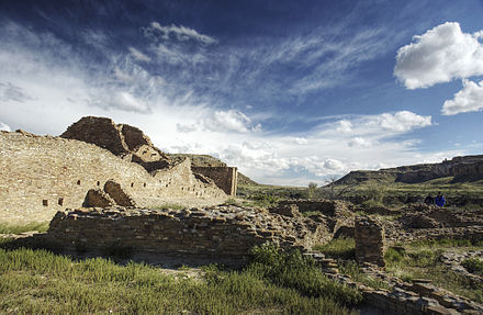 Pueblos and cliff dwellings such as this one in New Mexico were inhabited by people of the Colorado River basin between 2,000 and 700 years ago. Ordaz Chaco Canyon.jpg