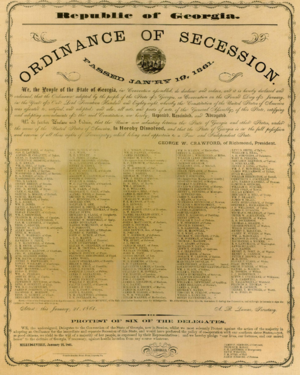 George W. Crawford - Facsimile of the 1861 Ordinance of Secession signed by delegates to the Georgia Secession Convention at the statehouse in Milledgeville, Georgia January 21, 1861