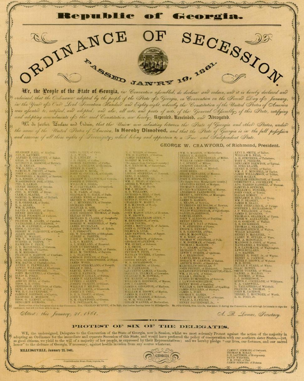 Ordinance of Secession Milledgeville, Georgia 1861