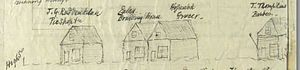 George Ruddenklau - Original houses between High and Colombo Streets in the early 1860s: Ruddenklau, Eales Boarding House, Hopsack (grocer) and T. Thompkins (baker)