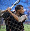 Orioles outfielder Adam Jones takes batting practice before the AL Wild Card Game. (30056415862).jpg