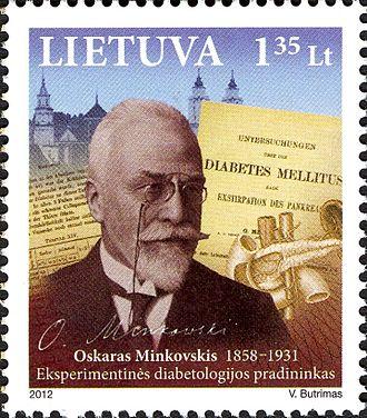 Oskar Minkowski - Minkowski on a 2012 Lithuanian stamp