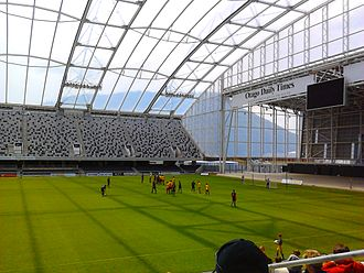 Forsyth Barr Stadium - A football match being played in the Forsyth Barr Stadium between Otago United and Waikato FC in the 2011–12 ASB Premiership
