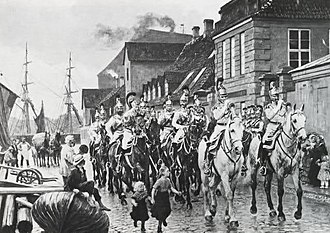 Royal Horse Guards Barracks (Copenhagen) - The Royal Horse Guards at Frederiksholm Canal, painting by Otto Bache