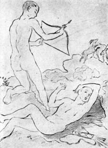 Illustration von Otto Schoff zur modernen Buchausgabe von Tibulls Marathus-Elegien[1] (Quelle: Wikimedia)