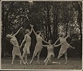 Outdoor photograph of Moya Beaver and four other pupils of Louise Lightfoot and Mischa Burlakov in a free dance pose, ca. 1937, (1) (17617077291).jpg