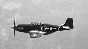 357th Fighter Group - P-51B 43-12123 C5-Z Bat Cave, assigned to Capt. Charles D. Sumner, 364 FS, credited with 4.5 kills