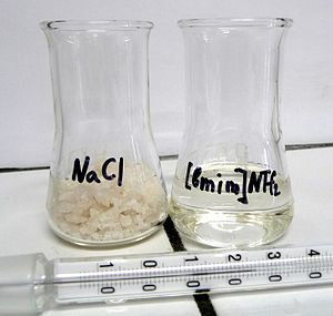 Ionic liquid - Table salt NaCl and ionic liquid 1-butyl-3-methylimidazolium bis(trifluoromethylsulfonyl)imide at 27°С