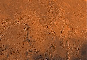 Memnonia quadrangle - Image of the Memnonia Quadrangle (MC-16). The south includes heavily cratered highlands intersected, in the northeastern part, by Mangala Vallis.  The north contains undulating wind-eroded deposits and the east contains lava flows from the Tharsis region.