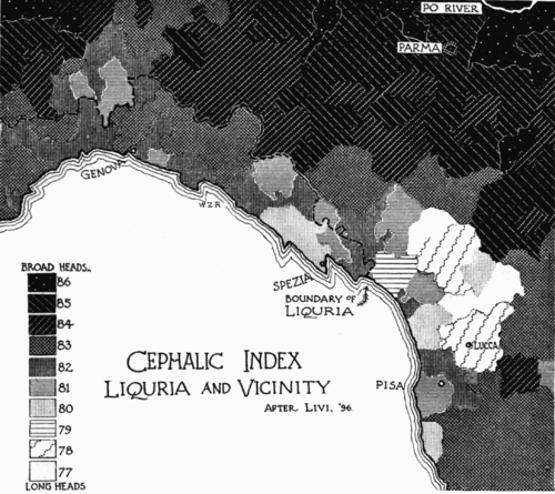 PSM V51 D749 Cephalic index of liguria and vicinity.png