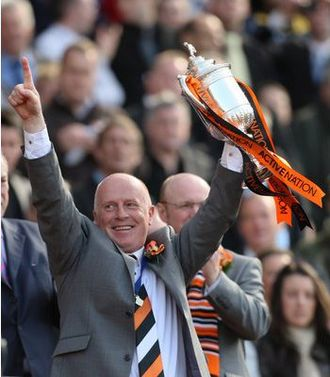 Dundee United F.C. - Manager Peter Houston celebrating Dundee United's 2010 Scottish Cup Final win