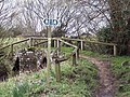 Packhorse bridge and signs near Fifehead Neville - geograph.org.uk - 336348.jpg