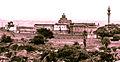 Panaromic view of basadis and stambha atop Chandragiri hill at Shravanabelgola.jpg