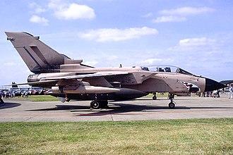 No. 9 Squadron RAF - No. IX (B) Squadron Panavia Tornado GR.1 ZD810 in Gulf War markings at RAF Alconbury, 1991.