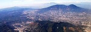 San Salvador (volcano) - The massive San Salvador volcano dominates the landscape and skyline west of the city of San Salvador.