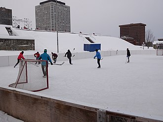 Sports in Canada - A game of pick-up hockey in progress at Esplande Park in Quebec City.