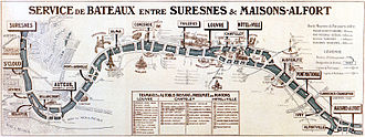 Voguéo - Route map between Suresnes and Maisons-Alfort around 1900. This river service disappeared in 1917, but with Voguéo has partly resumed, between Maisons-Alfort and Austerlitz.