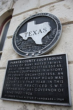 Parker county courthouse, weatherford, texas historical marker (6977913189)