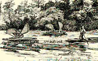 Shad fishing - Early 19th-century shad fishing on the Peedee (Greater Pee Dee) River, South Carolina.
