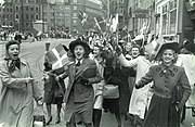 People celebrating the liberation of Denmark. 5th May 1945. At Strøget in Copenhagen.