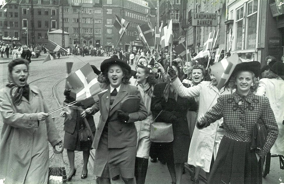 People celebrating the liberation of Denmark. 5th May 1945. At Str%C3%B8get in Copenhagen.